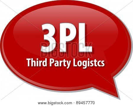 word speech bubble illustration of business acronym term 3PL 3rd Party Logistics