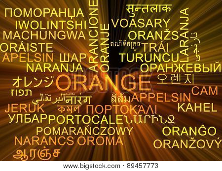 Background concept wordcloud multilanguage international many language illustration of orange glowing light