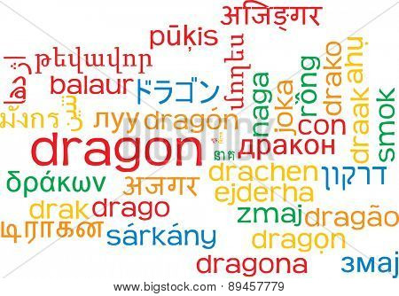 Background concept wordcloud multilanguage international many language illustration of dragon