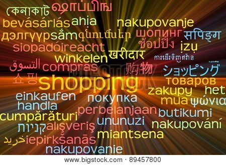 Background concept wordcloud multilanguage international many language illustration of shopping glowing light