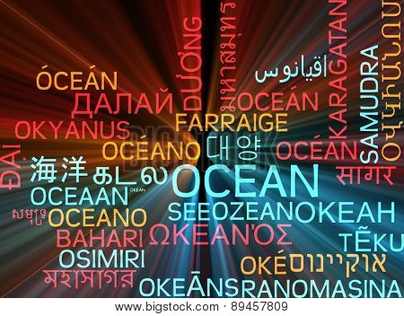 Background concept wordcloud multilanguage international many language illustration of ocean glowing light