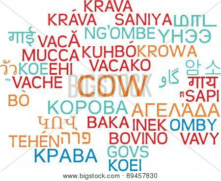 Background concept wordcloud multilanguage international many language illustration of cow