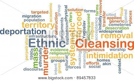 Background concept wordcloud illustration of ethnic cleansing