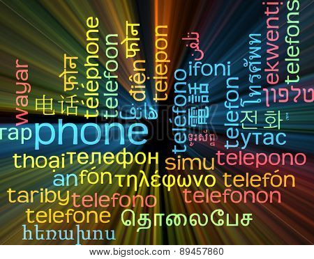 Background concept wordcloud multilanguage international many language illustration of phone glowing light