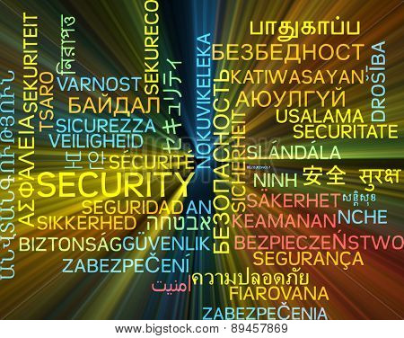 Background concept wordcloud multilanguage international many language illustration of security glowing light