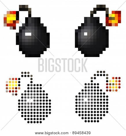 Pixel Vintage Cartoon Style Pirate Bomb On White