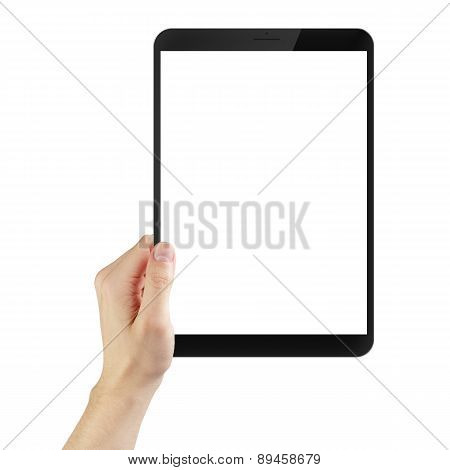 adult man hand holding generic tablet pc with white screen, isolated