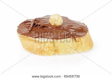 baguette slice with chocolate nut spread isolated