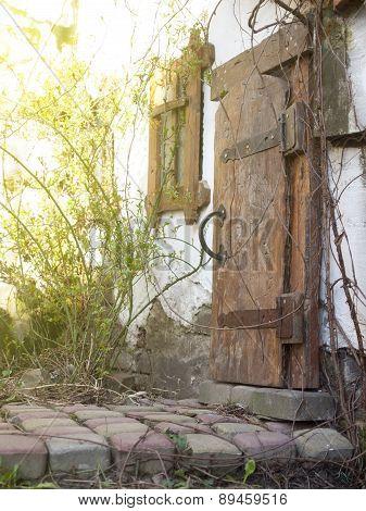 Wooden Door Of An Old House.