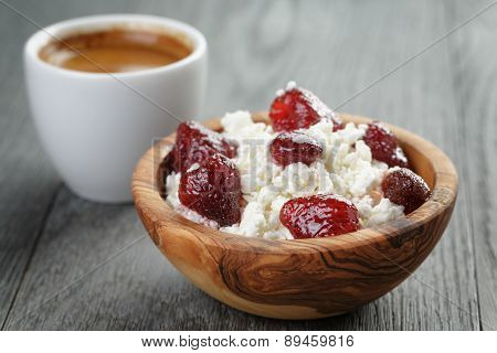 healthy breakfast with espresso and cottage cheese with strawberry