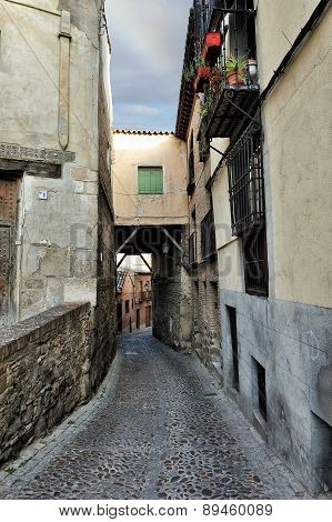 Old Medieval Alley At Toledo, Spain