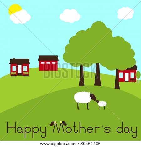 Happy Mother`s Day Card With Sheep And Lamb On Farm