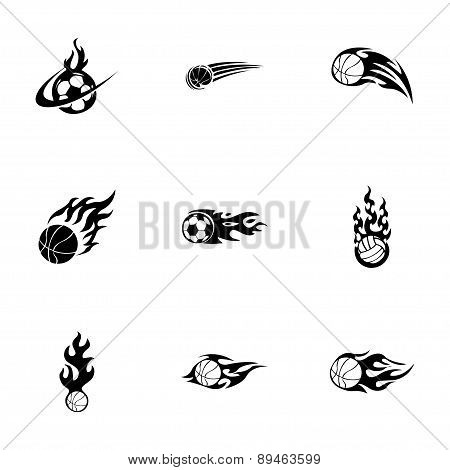 Vector fire sport balls icons set