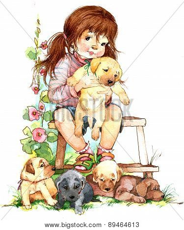 Girl and puppy. watercolor illustration