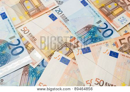 The Background Make From Twenty Ant Fifty Euro Banknotes