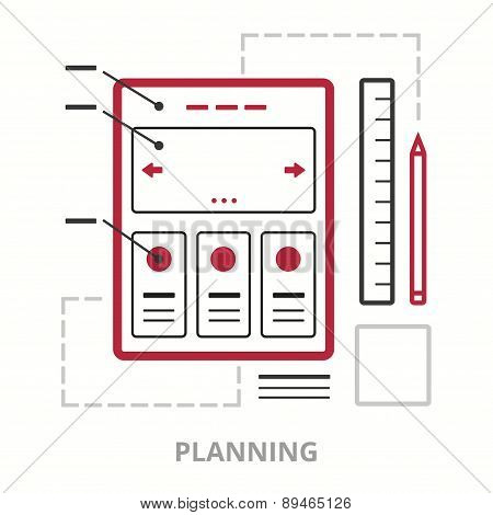 Business icons. Planning. Flat vector illustration. Outlined IT icon for web site.