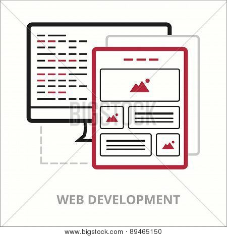 Business icons. Web development. Flat vector illustration. Outlined IT icon for web site.