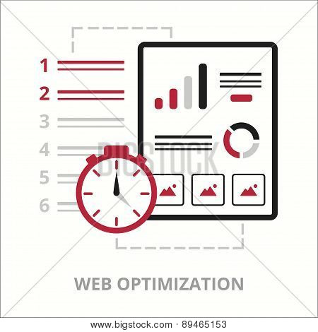 Business icons. Web optimization. Flat vector illustration. Outlined IT icon for web site.