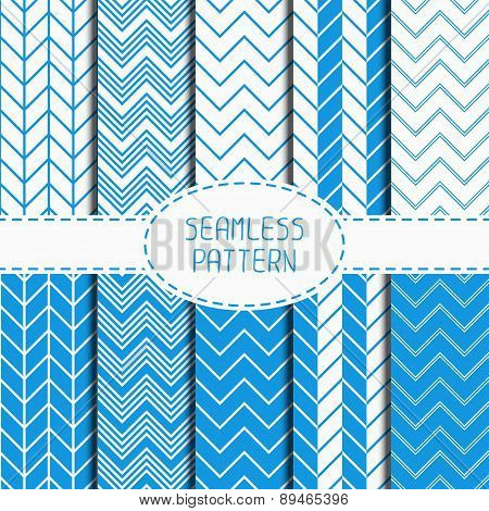 Set of blue fashion geometric seamless pattern with chevron. Collection of paper for scrapbook. Vect