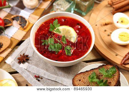 Traditional russian and ukrainian borscht soup