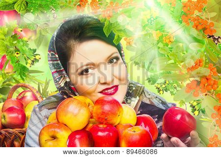 Woman With Organic Apple