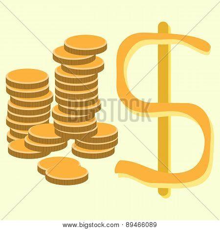 Illustration Of Golden Dollar Coins