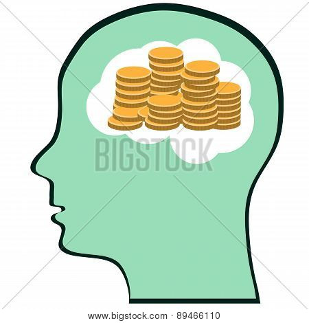 Thinking Brain Money Mind - A Concept Showing A Head/brain Thinking About Money