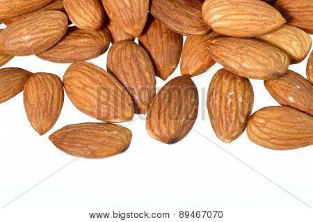 Pile of almonds, close-up