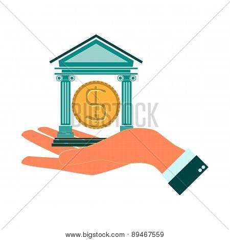 Bank Icon With The Building Facade With Two Pillars And Dollar In Hand. Vector