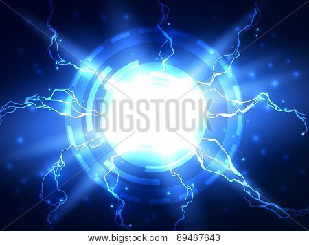 Abstract blue lightning vector science background