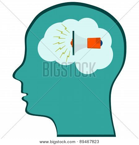Head With A Megaphone Information. Vector Illustration
