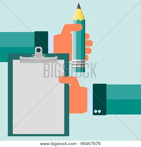Vector Modern Flat Illustration On Hands Holding Clipboard With Empty Sheet Of Paper And Pencil | Cl