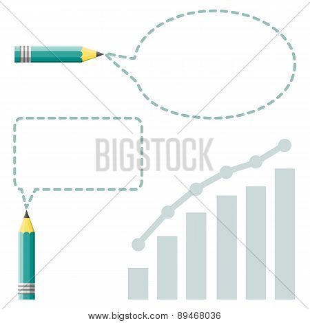 Pencil With Reflection Drawing Skewed Rectangle Shaped Speech Bubble