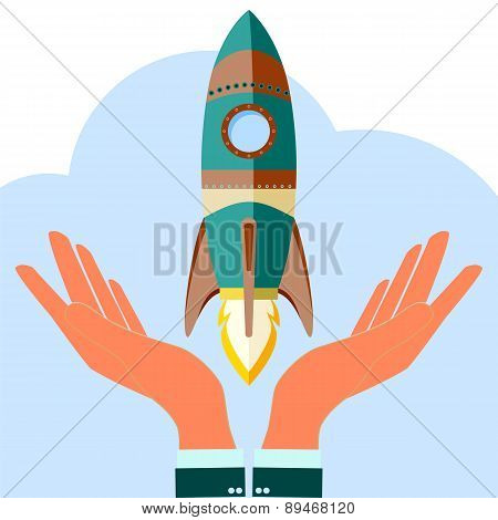 Start Up Rocket Or Business Launch. Holding Quick Start Up, Icon, Vector Illustration