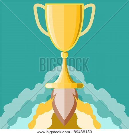 Winning Symbol. Start Up Triumph. Award Symbol. Vector Illustration If Flat Style Design. Trophy Cup