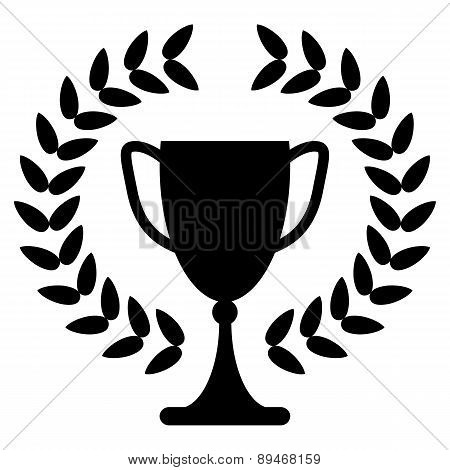 Trophy Cup Or Award For The Winner Of A Championship, Challenge Or Competition With A Lauren Wreath