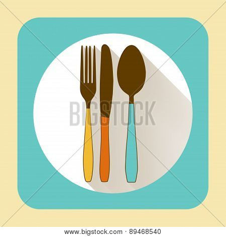 Kitchen Ware Tableware. Vector Flat Icon With Long Shadow