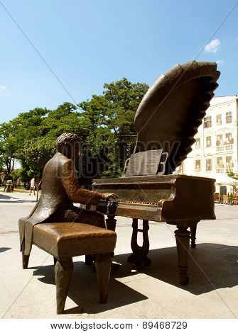 Monument to Polish pianist Arthur Rubinstein in Lodz. Poland.