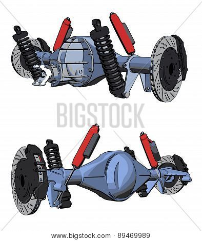 Rear axle assembly with suspension and brakes.