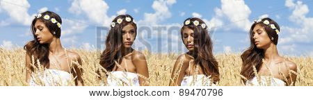 Beautiful young woman in a wheat golden field