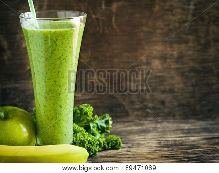 Green Juice With Chia Seeds. Healthy Drink