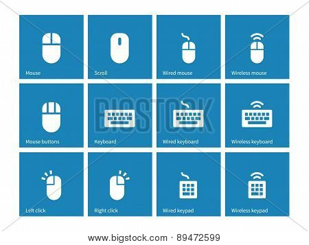 Mouse and keyboard icons on blue background.