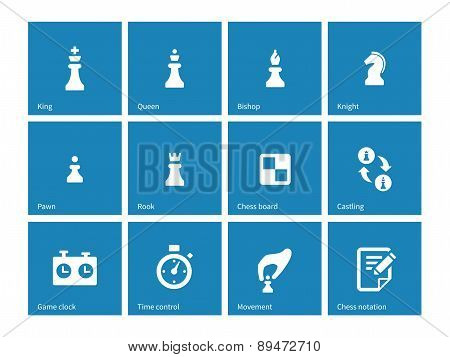 Chess icons on blue background.