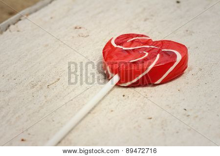 Candy Valentines Hearts On A White Background.