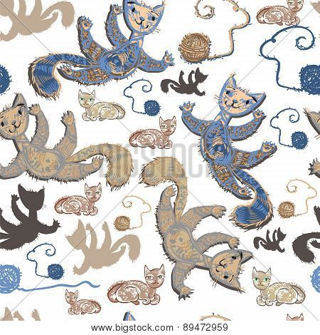 Seamless Pattern With Cheerful Cats.