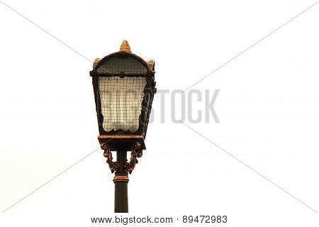 Beautiful street lamp closeup, streetlight