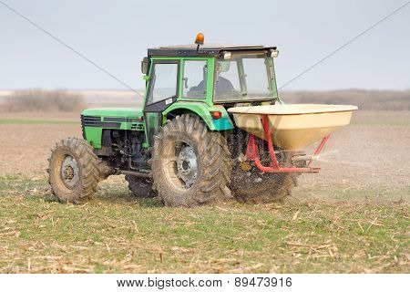 Tractor Fertilizing Field