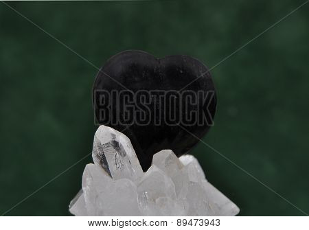 Obsidian On Rock Crystal