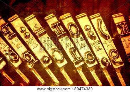 keys of an old typewriter. symbolic photo for communication in former times