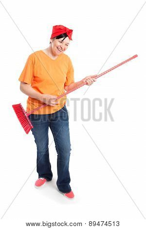 Middle Aged Woman With Dotted Broom